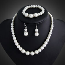 Woman Pearl White Gold Plated Jewelry Set Necklace Pendant Earrings Wedding Set