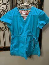 Koi Size Xs Aqua Blue Teal Scrub Top Lindsey Waist Side Tie