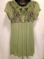 Hippie Rose Green Tunic Short Sleeve Knit Top Crochet Lace Detail Sizes S, L, XL