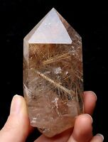 160.5g Natural Clear Quartz Hair Rutilated Crystal Plished point Specimen