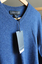 NWT Harrison Davis 100% Cashmere Men's Navy Blue V Neck Sweater S $245