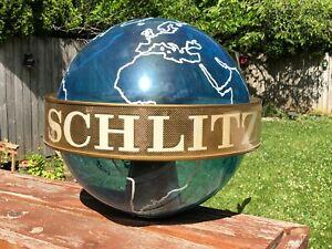 Vintage 1957 Schlitz Beer World Globe Lighted Spinning Sign Parts or Repair