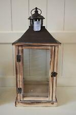 Laterne Holz Windlicht eckig braun ca.53cm Deko Shabby Metall-Dach Lampe Garten