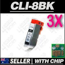 3x Black Ink for Canon CLI-8BK iP5200 iP5200R iP5300 iP6600D iP6700D PRO9000