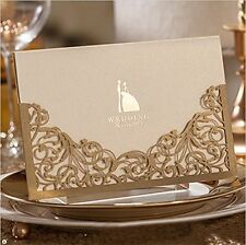 Joinwin Pack of 12 Floral Laser Cut Invitations Cards For Gold Wedding Printable