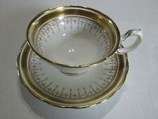 Grosvenor English Bone China Gold Greek Key Tea Cup & Saucer Elegant