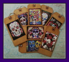 DAY OF THE DEAD SUGAR SKULLS - PRIMITIVE HANG TAGS - SET OF EIGHT