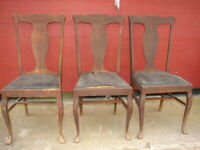 3 Antique Oak Formal T-Back Vase Back Dinning Room Chairs For Restoration   #113