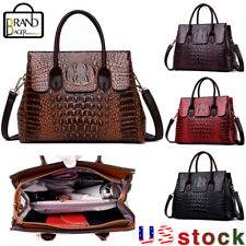 Women's Crocodile Leather Handbag CrossBody Messenger Satchel Tote Shoulder Bag