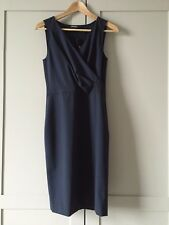 NWT DKNY V-Neck Stretch Wool Navy Sheath Dress 8 $295