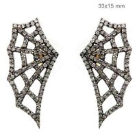 925 Silver Pave Diamond Spider Web Stud Earrings Pave 14 K Gold Fine Jewelry PY