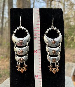Carolyn Pollack Kenneth Johnson Sterling Copper Silver Metal Earrings Dangle