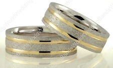 Two Tone His and Her Wedding Band Set Solid 14K Gold 7mm Matching Wedding Rings