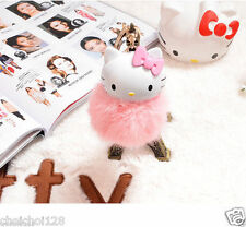Hello Kitty 14m LARGE FAUX FAKE Fur PomPom Ball Charm Handbag Key Chain KK702