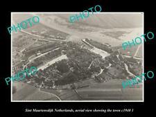 OLD POSTCARD SIZE PHOTO SINT MAARTENSDIJK NETHERLANDS TOWN AERIAL VIEW c1940 2
