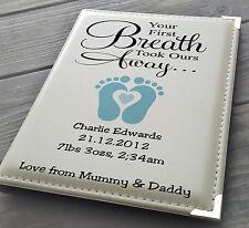 """Personalised 7x5"""" x 36 photo album, memory book, Mum Dad baby Boy birthday gift"""
