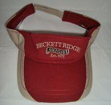 Beckett Ridge Golf Country Club Visor Hat Maroon Adjustable One Size