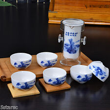 Chinese Landscape Scene Gongfu Cha Tea Cup Glass Ceramic Teapot Set With Infuser