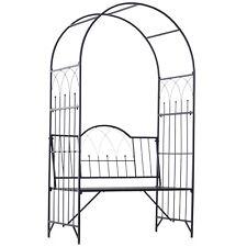 Outsunny  Arche à rosiers banc de jardin 3 places 2 en 1 dim. 115L x 59l x 203H