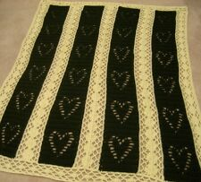 Hearts & Diamonds Handmade Wedding Anniversary Afghan Throw Blanket Green Yarn