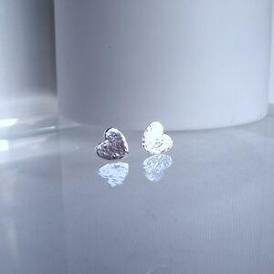 Lovely Handmade OOAK Love Heart Pure Silver 999 Hammer Finish Earrings