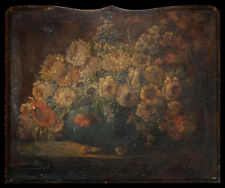 Antique Northern European Oil On Canvas Fire Screen