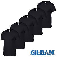 5 Pack BLACK Gildan Mens Tshirt Plain Cotton T Shirt Wholesale Workwear Sale Top
