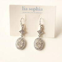 New Lia Sophia Oval Drop Dangle Earrings Gift Fashion Lady Party Holiday Jewelry