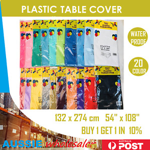 Plastic Table Cloth Colour Rectangle Cover For Wedding Birthday Party 137x274cm