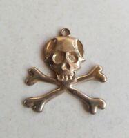 Cool Vintage Goth Gold Tone Skull Crossbones Medallion Pendant for Necklace N27