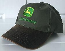 John Deere Canvas Olive Cap Hat w Distressed Brown Coated Bill Adjustable