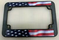 USA AMERICAN FLAG MOTORCYCLE PLASTIC LICENSE PLATE FRAME TAG COVER / HOLDER NEW