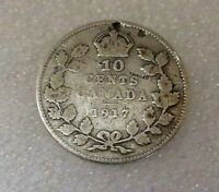 CANADA SILVER 10 cents 1917 coin! Mintage 5,011,988 Alloy: 92.5% silver DIME WWI