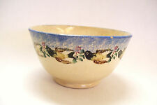 Antique Pottery Bowl Hand Painted Birds Made in England 7.5 inches Circa 1880s