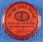 """Vintage Presto Stove Polish - 3-1/2"""" Dia Round Tin - J.L. Bader & Co. Iowa USA"""