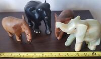 Vintage Collection Collectable Elephants Figurines Jadeite Wood Lot