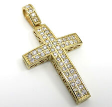 1.00ct Mens Ladies 14k Yellow Real Solid Gold Si2 2 Row Diamond Cross