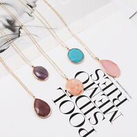Fashion 14K Gold Tone Natural Stone Teardrop Oval Pendant Necklace Women Jewelry