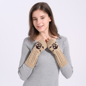 Skull Fingerless Sleeves Mitten Winter Warm Acrylic Stretch Knit Half Finger Arm