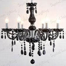 Genuine K9 Crystal Chandelier BLACK 6, 8, 10 Lights Candle Pendant Lamp E14 Bulb