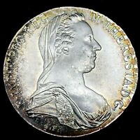 1780 AUSTRIA SILVER MARIA THERESA RE'STRIKE THALER GEM BU WITH TONING.  #3