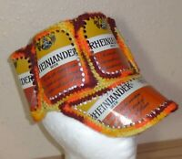 Vintage 1970s Rheinlander Beer Can Handmade Crochet Knit Red Hat