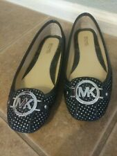 "Michael Kors flats black size 6-M silver dots 1/4"" heel comfortable"