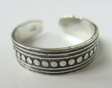 2pcs Solid Sterling Silver Adjustable Toe Ring Lines and Dots Oxidized Jewelry
