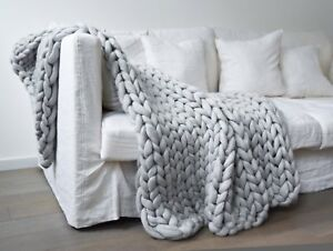 Handmade  Sofa Blanket Giant Chunky Wool Knit Throw Hand-woven Blanket Home Gift