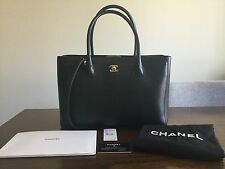 PERFECT CONDITION Authentic Chanel Executive Cerf Tote - Black w/ Gold Hardware