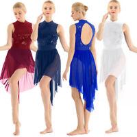 Women's Lyrical Modern Dance Costume Skating Dress Sequine Ballet Leotard Skirt