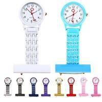 New Stainless Steel Nurses Watch Metal Pin Brooch Clip Quartz Pocket Fob  Watch