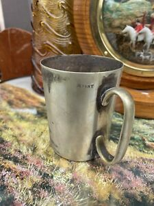 ANTIQUE SILVER PLATED TANKARD VICTORIAN VR6 1/2 PINT THE STORES ENGRAVED