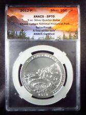 "2012 America the Beautiful ""CHACO CULTURE"" 5oz Silver Quarter Dollar ANACS SP70"